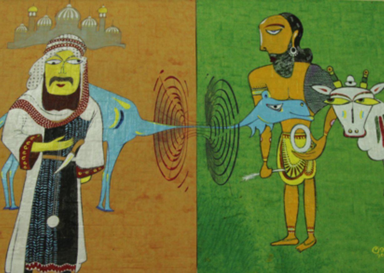 The invention of zero by Indians and its popularisation by the Arabians, the two different times and places connected by a wormhole. Painted in the style of Jamini Roy. Credit: Lakshmi Supriya/IISc Press