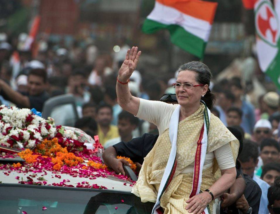 Sonia Gandhi during a campaign rally in 2014. Credit: PTI