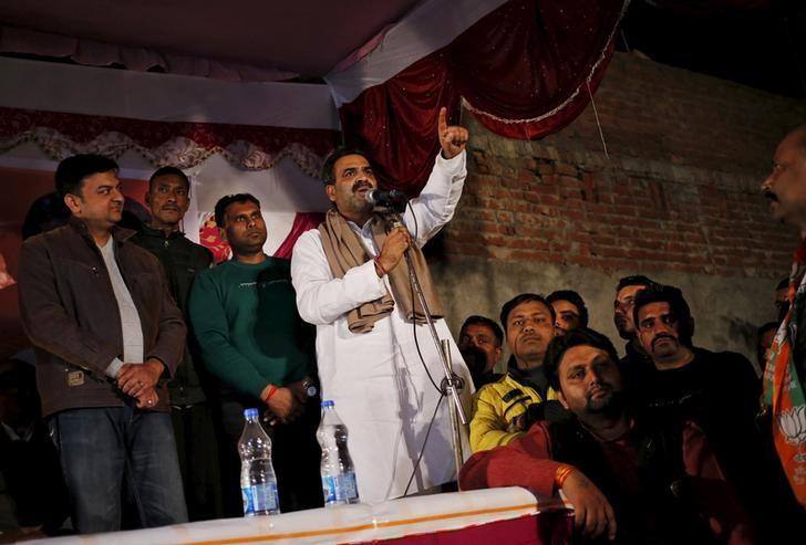 Sanjeev Balyan (C), agriculture minister and a member of ruling Bharatiya Janata Party (BJP), addresses a by-election campaign rally in Muzaffarnagar district in Uttar Pradesh. Credit: Reuters