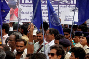 A protest rally at Una. Credit: PTI