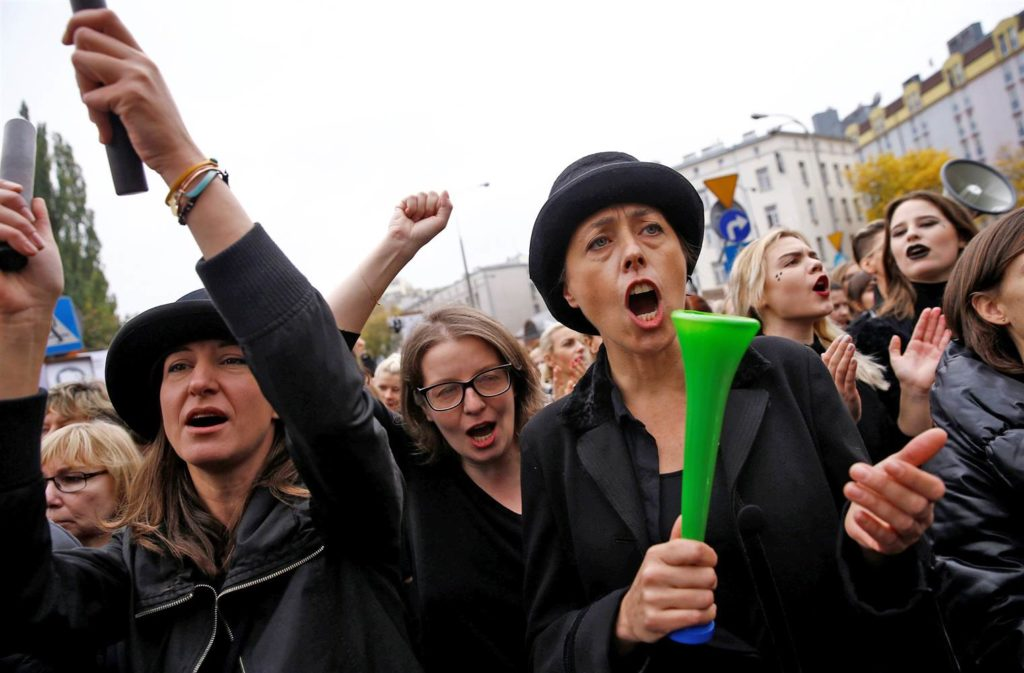 Women shout slogans as they gather in an abortion rights campaigners' demonstration. Credit: Reuters