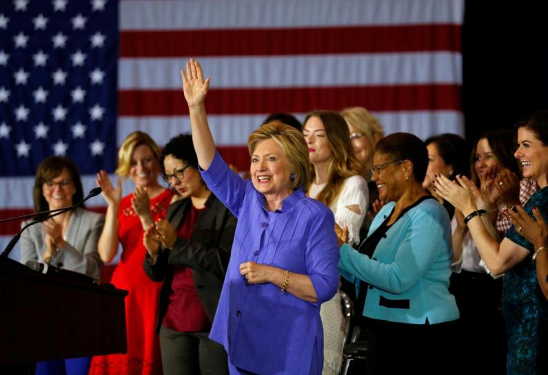 """U.S. Democratic presidential candidate Hillary Clinton waves after speaking at a """"Women for Hillary"""" event in Culver City, California, United States June 3, 2016. Credit: Reuters/Mike Blake"""
