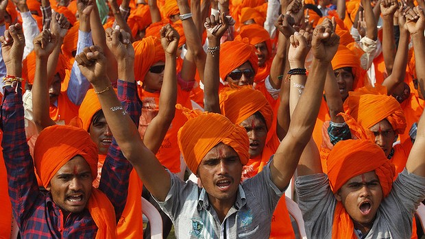 BJP supporters at a election rally in Ahmedabad in 2014. Credit: Reuters