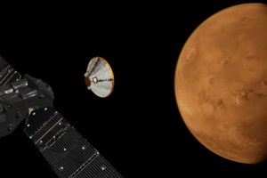 An artist's illustration of the ExoMars Trace Gas Orbiter, with the Schiaparelli lander to its right, shown next to Mars. Credit: ESA/Twitter