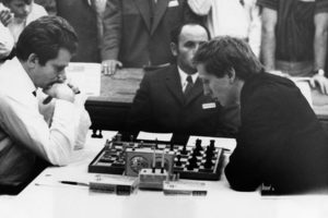 Bobby Fischer (right) playing Boris Spassky at the World Championship in 1972