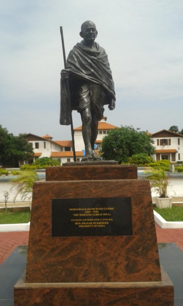 Statue of Mahatma Gandhi at the University of Legon in Ghana. Credit: Twitter