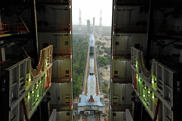 The GSLV-MkII emerges from the vehicle assembly building at Sriharikota. Credit: ISRO