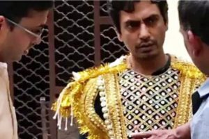 Actor Nawazuddin at rehearsals for the Ram Leela in his village