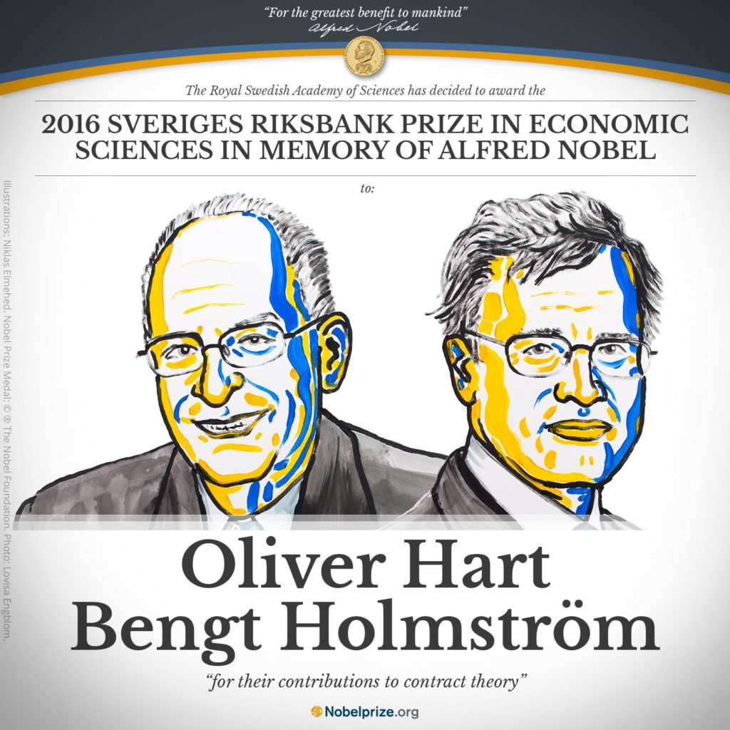 Oliver Hart and Bengt Holmstrom have won the Nobel Economics Prize. Credit: nobelprize.org