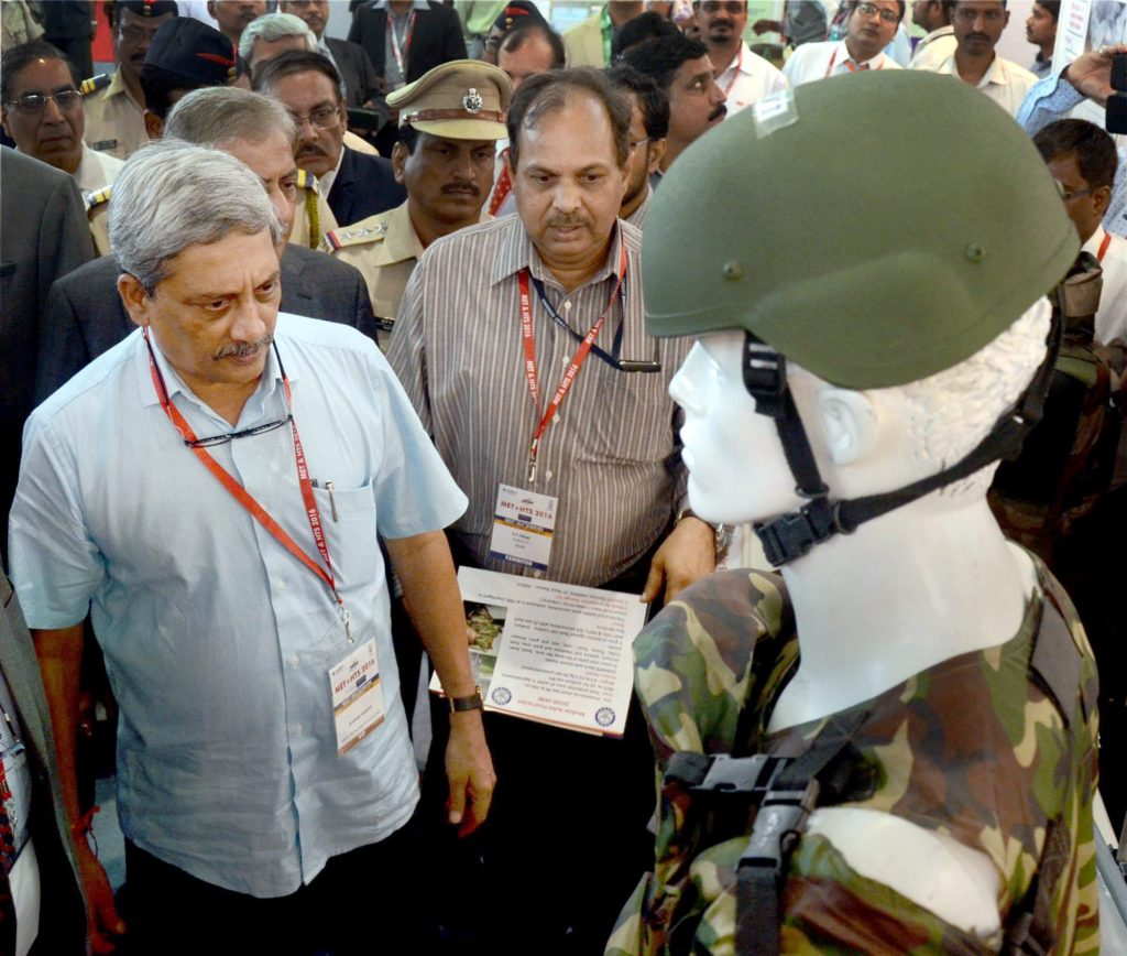 'He didn't know his strength until we made him realise it': Defence minister Manohar Parrikar inaugurates an Exhibition at Vashi, Navi Mumbai on Wednesday. Credit: PTI