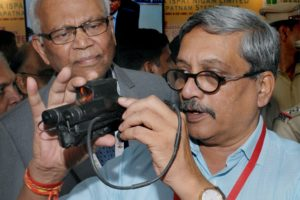 Defence minister Manohar Parrikar inaugurates an Exhibition at Vashi, Navi Mumbai on Wednesday. Credit: PTI