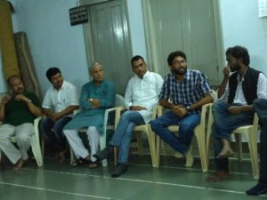 Vinay mahajan, cultural artist, Indubhai Jani from Khet Vikas Parishad, Bhavar Meghvanshi from Rajasthan, Jignesh Mewani and Rohan Sonpimple from JNU at the meeting. Credit: Damayantee Dhar