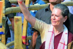 Sonia Gandhi during the 2014 Lok Sabha election. Credit: PTI
