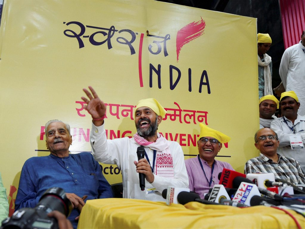 Swaraj Abhiyan leaders Prashant Bhushan, Shanti Bhushan and Yogendra Yadav address the media after the launch of their new political party, Swaraj India, in New Delhi on Sunday. Credit: PTI/Shahbaz Khan