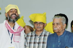 Swaraj Abhiyan leaders Prashant Bhushan, Shanti Bhushan and Yogendra Yadav during the launch of their new political party, Swaraj India, in New Delhi on Sunday. Credit: PTI/Shahbaz Khan