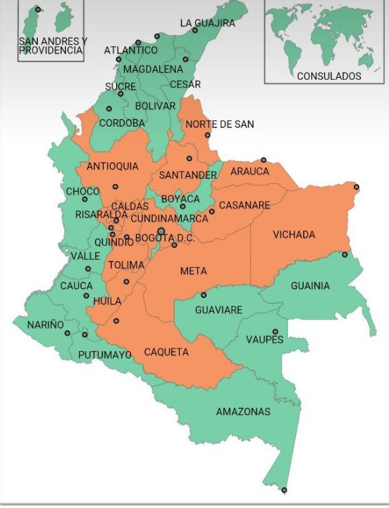 How Colombia voted. Orange voted No, green voted Yes. Credit: plebiscito.registraduria.gov.co/