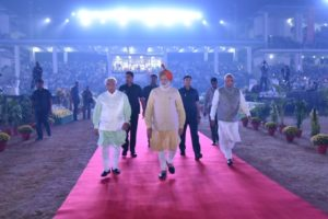 Prime Minister Narendra Modi at the Haryana Swarnim Utsav. Credit: PTI