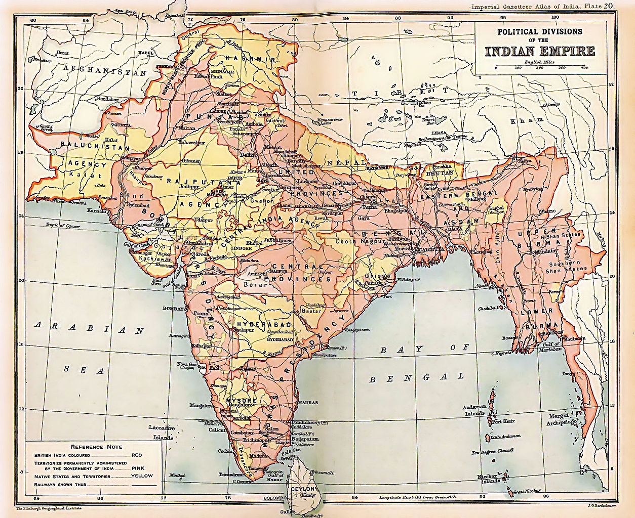 A map of India from 1909. A plague followed a famine in 1896 that had been particularly severe on the Central Provinces. Credit: Wikimedia Commons