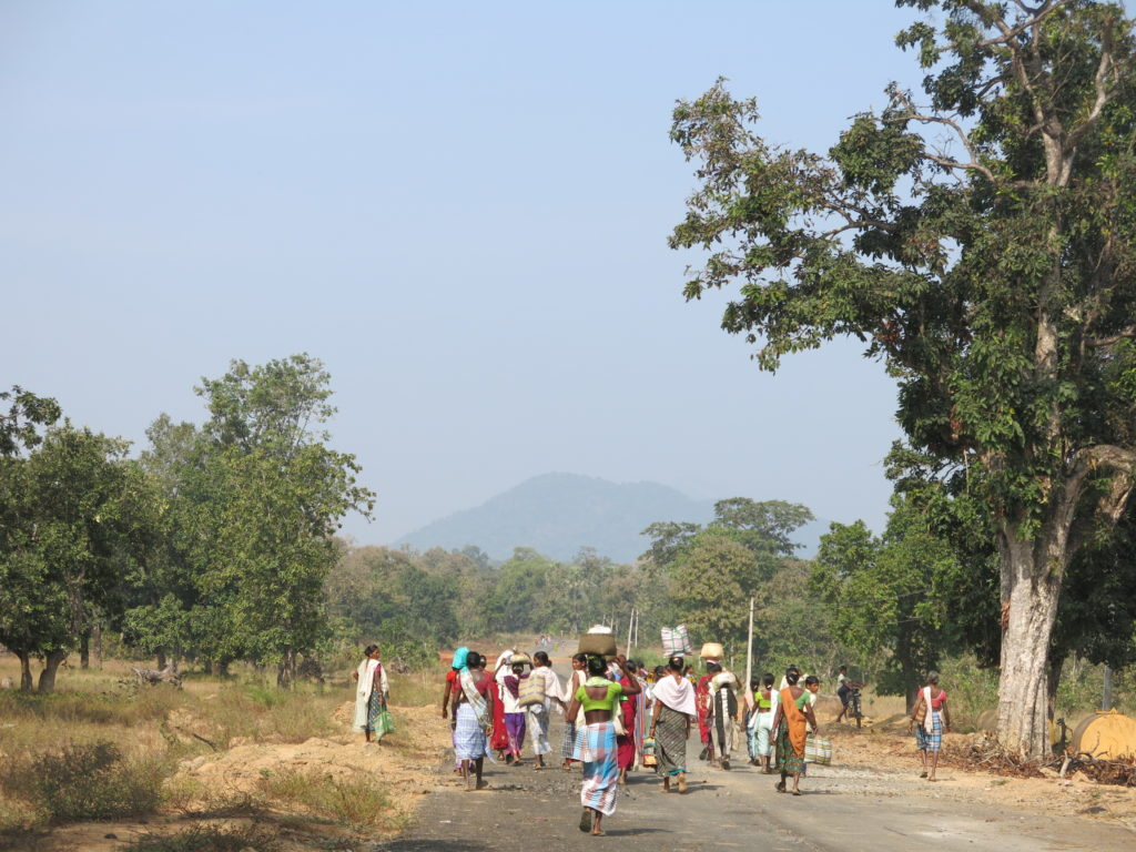 Women from the Bijapur villages, where the alleged assaults by security forces took place last year, have to walk for several hours before they can get to the closest pucca road located at Sarkeguda, the site of a paramilitary camp. Credit: Chitrangada Choudhury