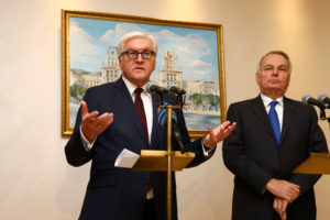 Germany's Foreign Minister Frank-Walter Steinmeier (L) and his French counterpart Jean-Marc Ayrault attend a news briefing after the talks on the crisis in eastern Ukraine in Minsk, Belarus, November 29, 2016. Credit: Vasily Fedosenko/Reuters