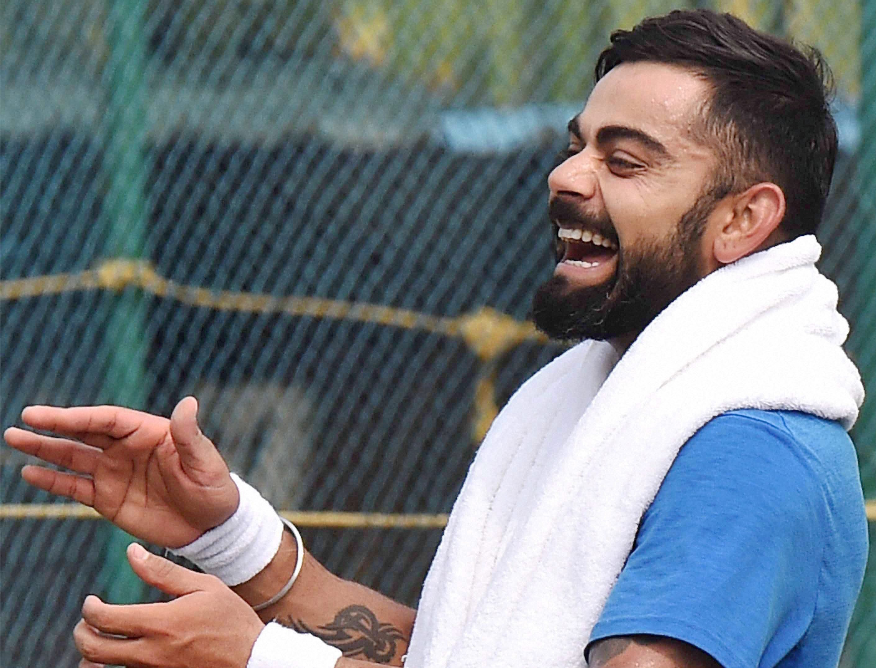Men's Test cricket captain Virat Kohli during a practice session ahead of the second match against England in Visakhapatnam on November 16. Credit: PTI