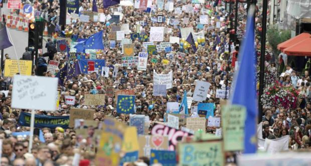 People protesting in London after the results of the Brexit vote came in. Credit: Reuters