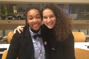 Johnna Artis, 20, first apprentice and Maria Fraguas Jover, 24, rehearsal director at the Hip-Hop Dance Conservatory pictured at the UN. Credit: IPS UN Bureau/IPS