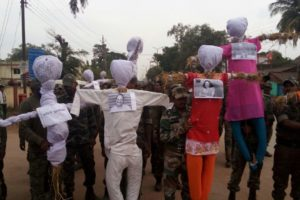 The police and special auxiliary forces in Chhattisgarh burnt the effigies of critics of human rights violations, including Sundar, at an official protest last month. Credit: Special Arrangement