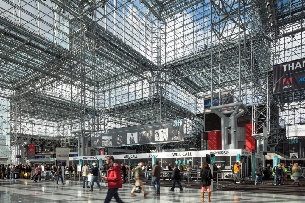 The Javits Convention Centre in New York, with its glass ceiling, where Hillary Clinton will be holding her election night rally