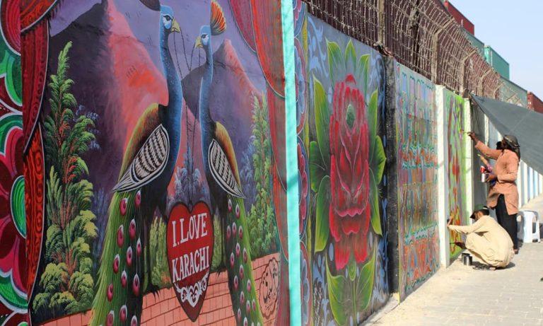 Murals by I Am Karachi (IAK) alongside MT Khan Road. Credit: Dawn