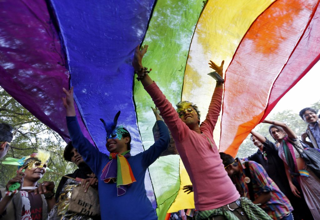 Participants dance under a a rainbow flag as they attend the sixth Delhi Queer Pride parade in New Delhi November 24, 2013. Credit: Reuters/Mansi Thapliyal