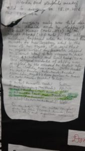 Letter accusing Ahmed of assault