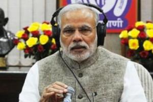 Prime Minister Narendra Modi recording his radio programme 'Mann ki Baat'. Credit: PTI