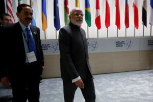 File photo of Prime Minister Narenda Modi arriving for the first plenary session of the Nuclear Security Summit in Washington April 1, 2016. Credit: Reuters/Jonathan Ernst