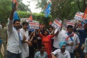 NSUI students in Delhi University on a rally against ragging in 2014. Credit: NSUI/Twitter