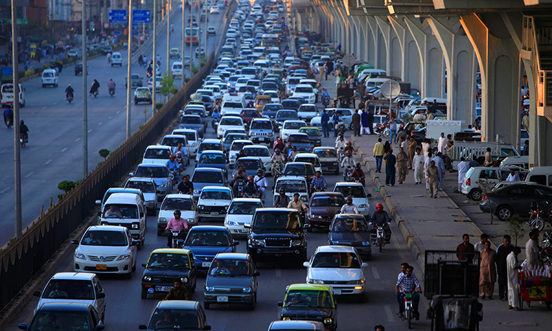 Vehicles are seen in a traffic jam on a road in Rawalpindi. Credit: Reuters