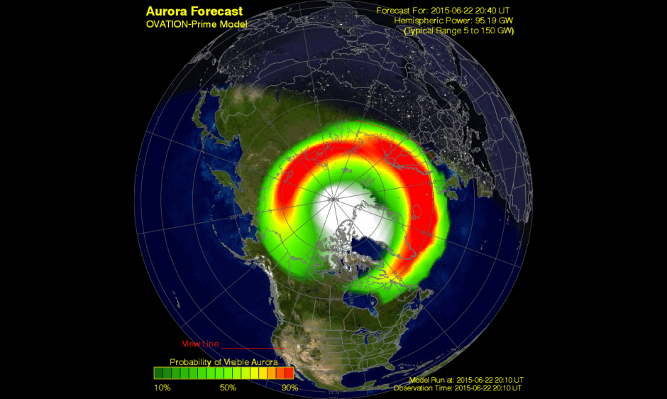 Aurora forecast following the three CMEs in June 2015. Source: Author provided