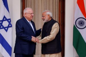 Israeli President Reuven Rivlin shakes hands with Prime Minister Narendra Modi ahead of their meeting at Hyderabad House in New Delhi on Tuesday. Credit: Reuters