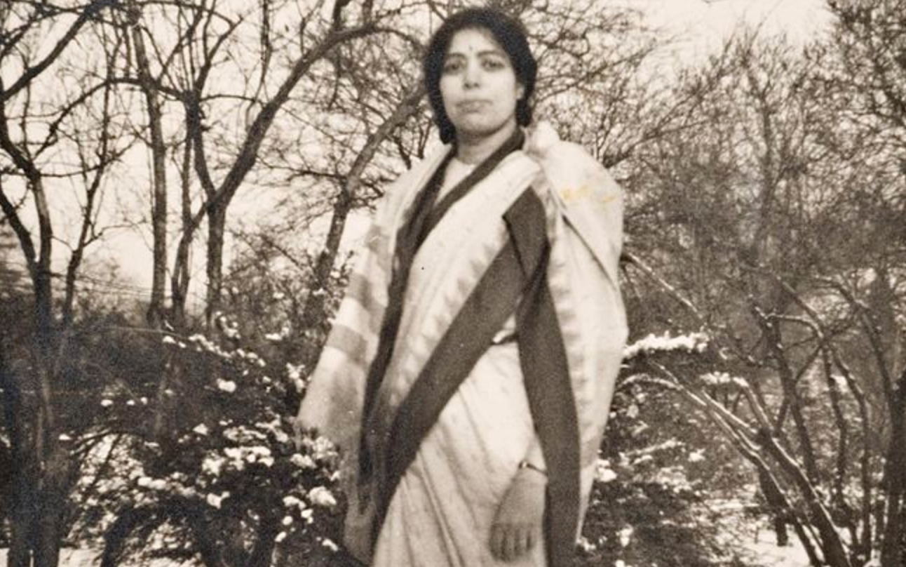 E.K. Janaki Ammal standing in snow. The picture was taken during her time at the John Innes Horticultural Institute, London. Credit: John Innes Archives/Wikimedia Commons