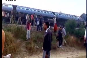 The cause of the derailment is not yet known. Credit: ANI/Twitter
