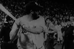 Fidel Castro playing baseball in a still from a video titled 'Castro on the Ball'. Credit: Youtube Screenshot