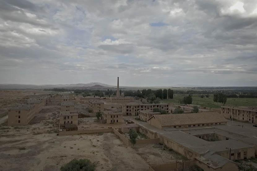 An aerial view of a deserted area of 404 City in Gansu province, abandoned in 1986. Credit: Xu Haifeng/Sixth Tone