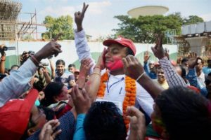 CPI-M candidate Jhumu Sarkar celebrates his victory in Agartala, Tripura on Tuesday. Credit: PTI