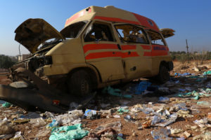 A damaged ambulance is pictured after an airstrike on the rebel-held town of Atareb, in the countryside west of Aleppo, Syria November 15, 2016. Credit: Reuters/Ammar Abdullah