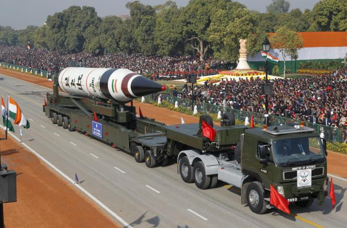 A surface-to-surface Agni V missile is displayed during the Republic Day parade in New Delhi, in this January 26, 2013 file photo.Credit: Reuters/B Mathur