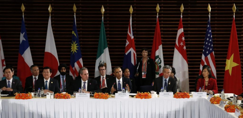 Outgoing US President Barack Obama presiding over a TPP meeting in 2014. Credit: Reuters