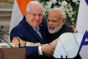 Israeli President Reuven Rivlin and India's Prime Minister Narendra Modi hug each other after reading their joint statement at Hyderabad House in New Delhi on Tuesday. Credit: Reuters