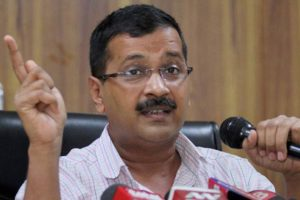 Delhi CM Arvind Kejriwal speaks during a press conference at his residence in New Delhi on Saturday. Credit: PTI