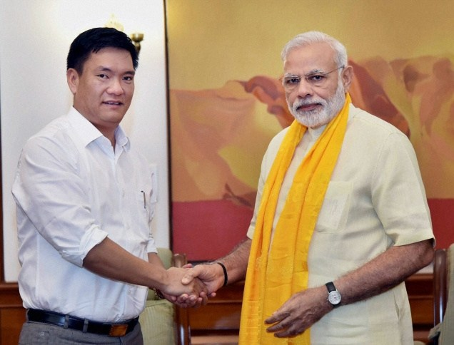 Arunachal Pradesh chief minister with Prime Minister Narendra Modi in July 2016. Credit: Special arrangement