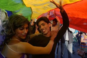 Supporters of LGBT rights during a pride parade. Credit: PTI
